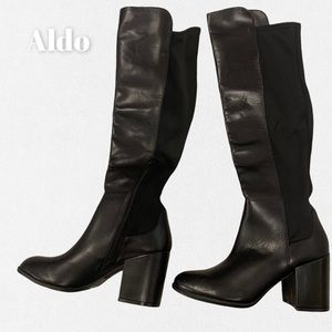 Aldo Like-New Black Knee -High Slip On Boots